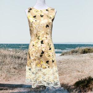 Floral A-Line Dress Sleeveless Career Stretch 16